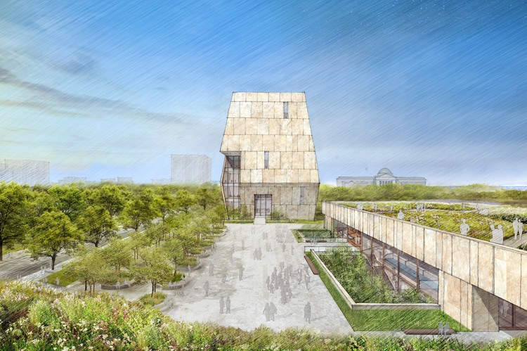Obama Foundation Unveils TWBTA-Designed Obama Presidential Center, View of the Obama Presidential Center plaza. Image Courtesy of Obama Foundation