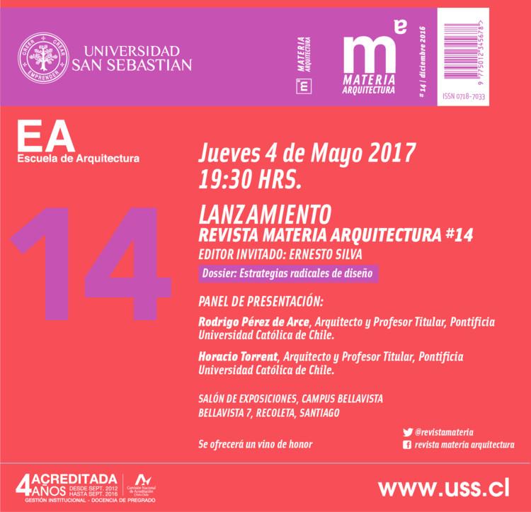 Lanzamiento Revista Materia Arquitectura #14, Revista Materia Arquitectura
