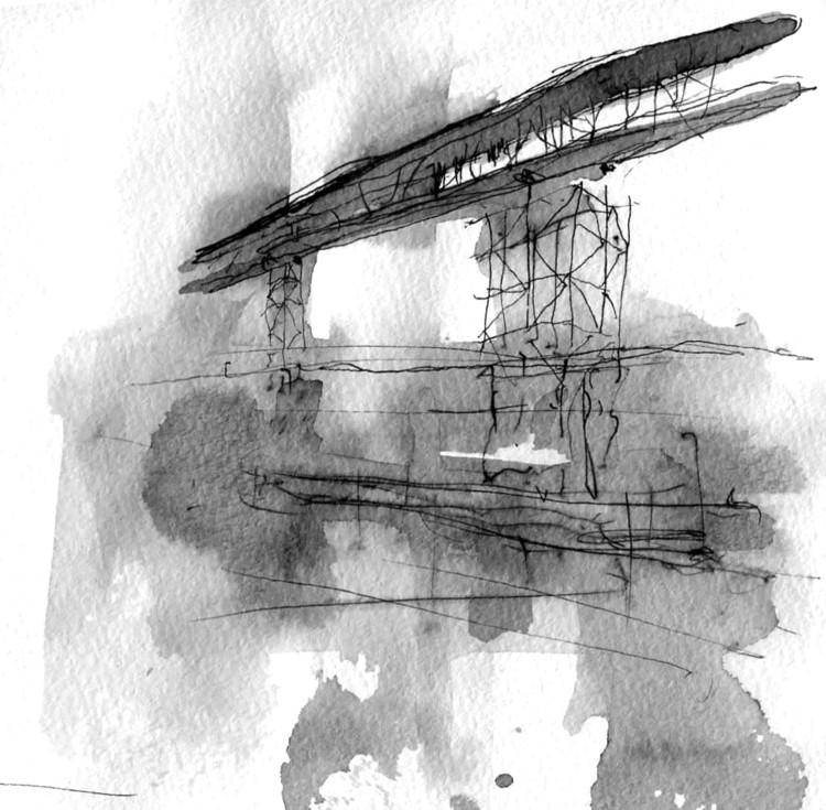 BIVAK Architecture and Design vence concurso para arena de remo na Hungria, O conceito de projeto evoca a imagem de um barco a remo através da água. Image Cortesia de BIVAK
