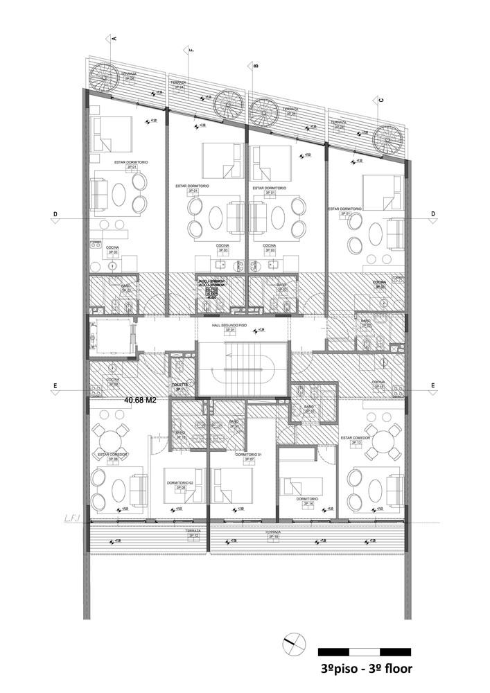 Bolivar Multifamily Housing Hitzig Militello Arquitectos Third Floor Plan