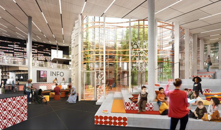 funciones interiores se organizan en torno a un atrio central.  Imagen cortesía de Sweco