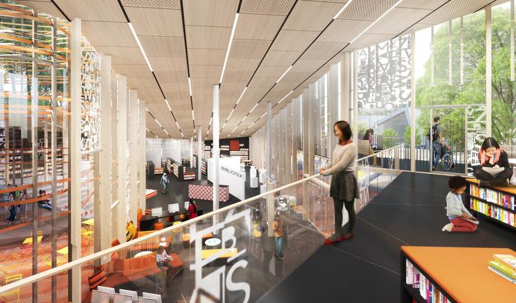 El interior incluye espacio informal y flexible para reunirse y hablar.  Imagen cortesía de Sweco