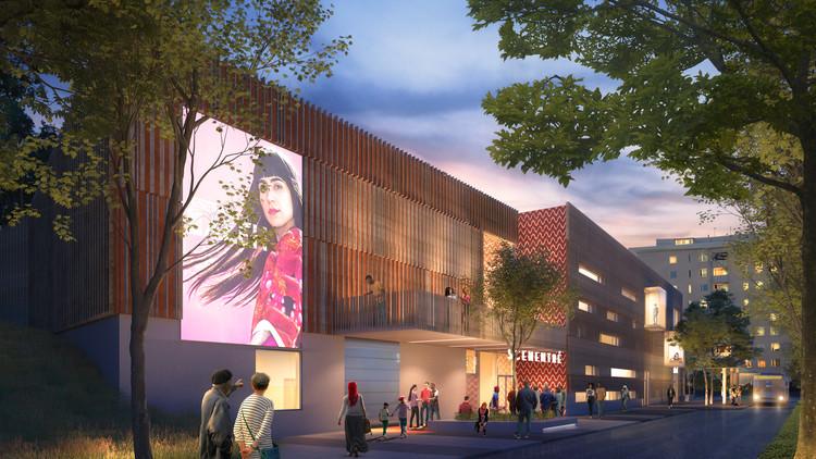 La fachada es una rica mezcla de la madera, el color y el patrón.  Imagen cortesía de Sweco