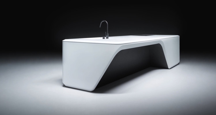 Zaha Hadid Design Unveils Corian Dominated Custom Kitchen Island Archdaily