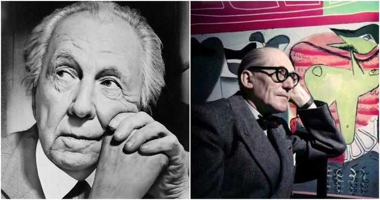 When Frank Lloyd Wright and Le Corbusier Had a Public Argument in The New York Times, Left: Frank Lloyd Wright photographed by Al Ravenna. Image <a href='https://commons.wikimedia.org/wiki/File:Frank_Lloyd_Wright_portrait.jpg'>via Wikimedia</a> in Public Domain. Right: Le Corbusier. Image © Willy Rizzo