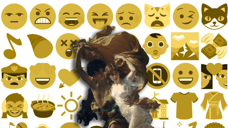 "Advice For Procrastinator Architects, Collage: ""The Storm"" by Pierre-Auguste (87.15.134). The Metropolitan Museum of Art, 2000-. [1] (January, 2007), under public domain + Emoji One [Wikipedia], under license CC BY-SA 4.0. Image © Nicolás Valencia"