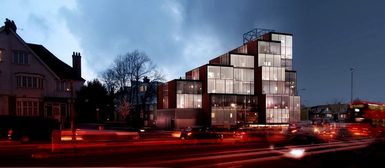 OMA-Alumni NEUBAU Greenlighted for Pixelated Mixed-Use Complex in London, Courtesy of NEUBAU