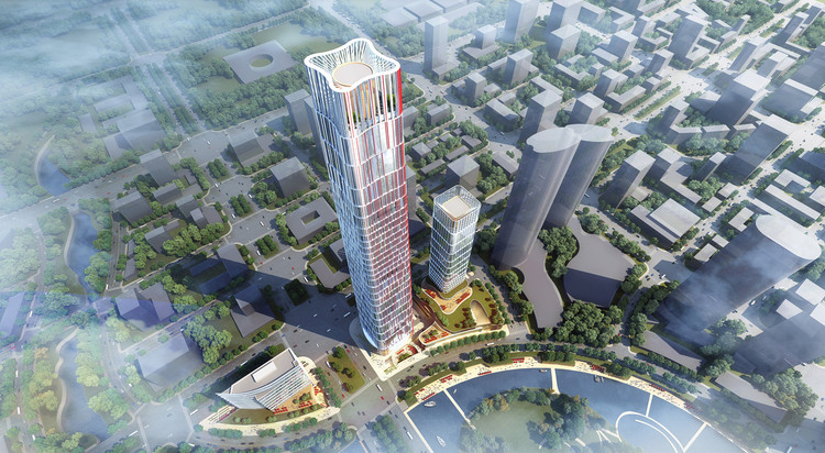 Goettsch Partners Wins Competition for 1,312-Foot-Tall Tower and Mixed-Use District in Wuhan, Courtesy of Goettsch Partners