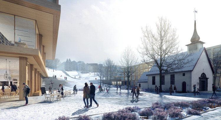 Emerging Studio Wins Competition to Expand one of Norway's Largest University Campuses, New university buildings form a spatial framing, where the park is the unifying element. The square is enriched with small landscape interventions, and facilitates external business activities. (Illustration by Beauty and the Bit). Image Courtesy of KOHT Arkitekter