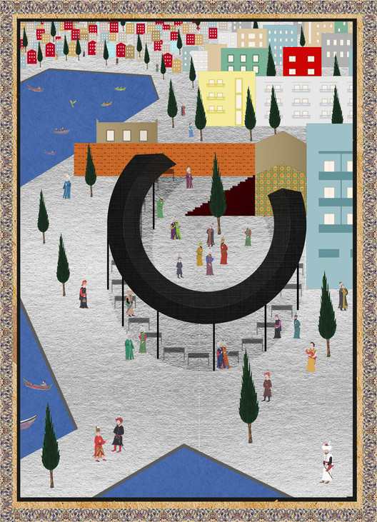 This Project Explores the Ottoman Miniature as a Form of Architectural Representation, Fishmarket. Image © Deniz Basman, Louis Mounis