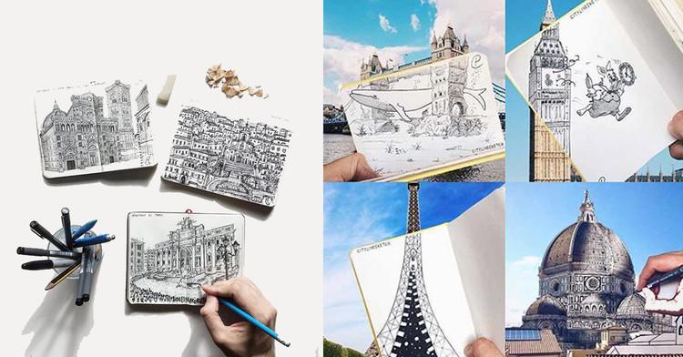 """Projeto """"CityLiveSketch"""" usa croquis e fotografia para reproduzir paisagens urbanas reais e imaginárias, © Pietro Cataudella"""