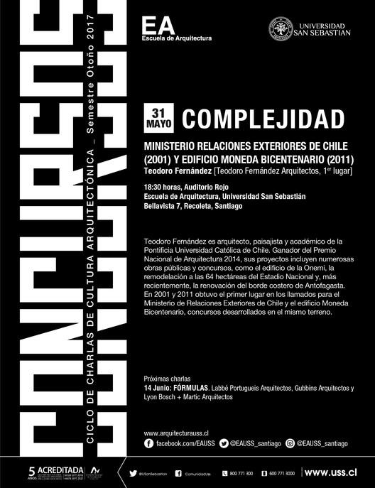 CONCURSOS: Teodoro Fernández | CCCA USS |  Otoño 2017 , Escuela de Arquitectura, Universidad San Sebastián [EA USS]
