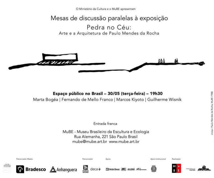"""Mesa de discussão paralela à exposição """"Pedra no Céu: Arte e Arquitetura de Paulo Mendes da Rocha"""", Croqui: Paulo Mendes da Rocha, MuBE/1986"""