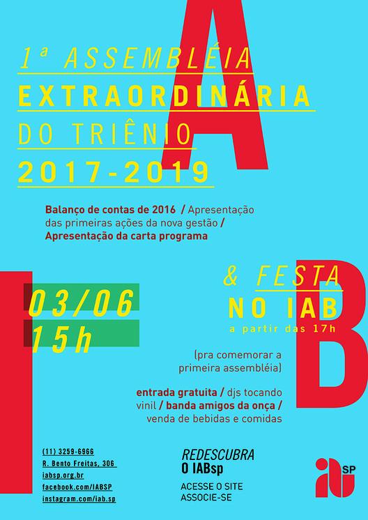 1ª Assembléia do Triênio 2017-19 + Festa no IABsp, cartaz_assembleia_festa