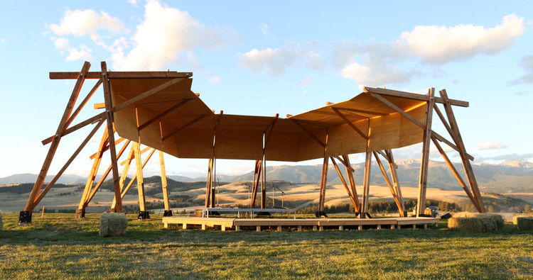 Architecture & Design Film Festival, The Tiara at Tippet Rise Art Center, Design by Alban Bassuet and Willem Boning, with Arup Engineers. Lead Architect: Gunnstock Timber Frames. Image courtesy of Tippet Rise. Photo by Alban Bassuet.