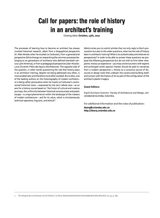 Call for Papers: Issue N. 22: The Role of History in an Architect's Training, Call for papers