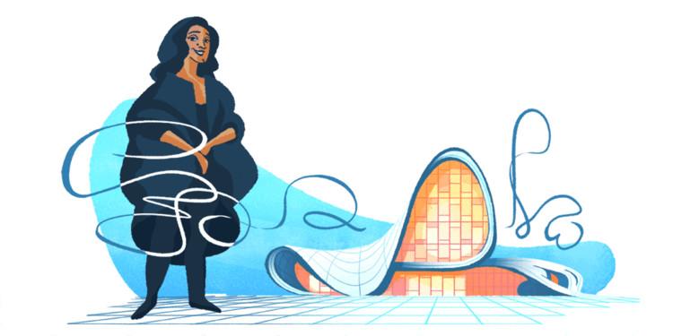 Zaha Hadid é homenageada em um doodle da Google , Zaha Hadid em frente ao Heydar Aliyev Center. Image via Google Doodles