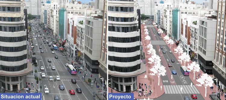 A Gran Vía de Madri terá espaço para ciclistas em 2018, Antes y después de la Gran Vía de Madrid. Image Cortesía de Ayuntamiento de Madrid