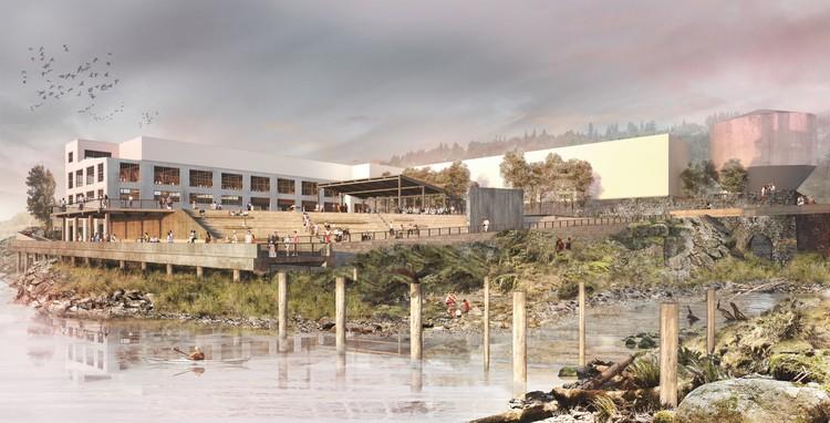 Snøhetta Envisions Riverwalk Masterplan on Industrial Site at Oregon's Willamette Falls, The Woolen Mill Alcove and Public Yard. Image © Snøhetta
