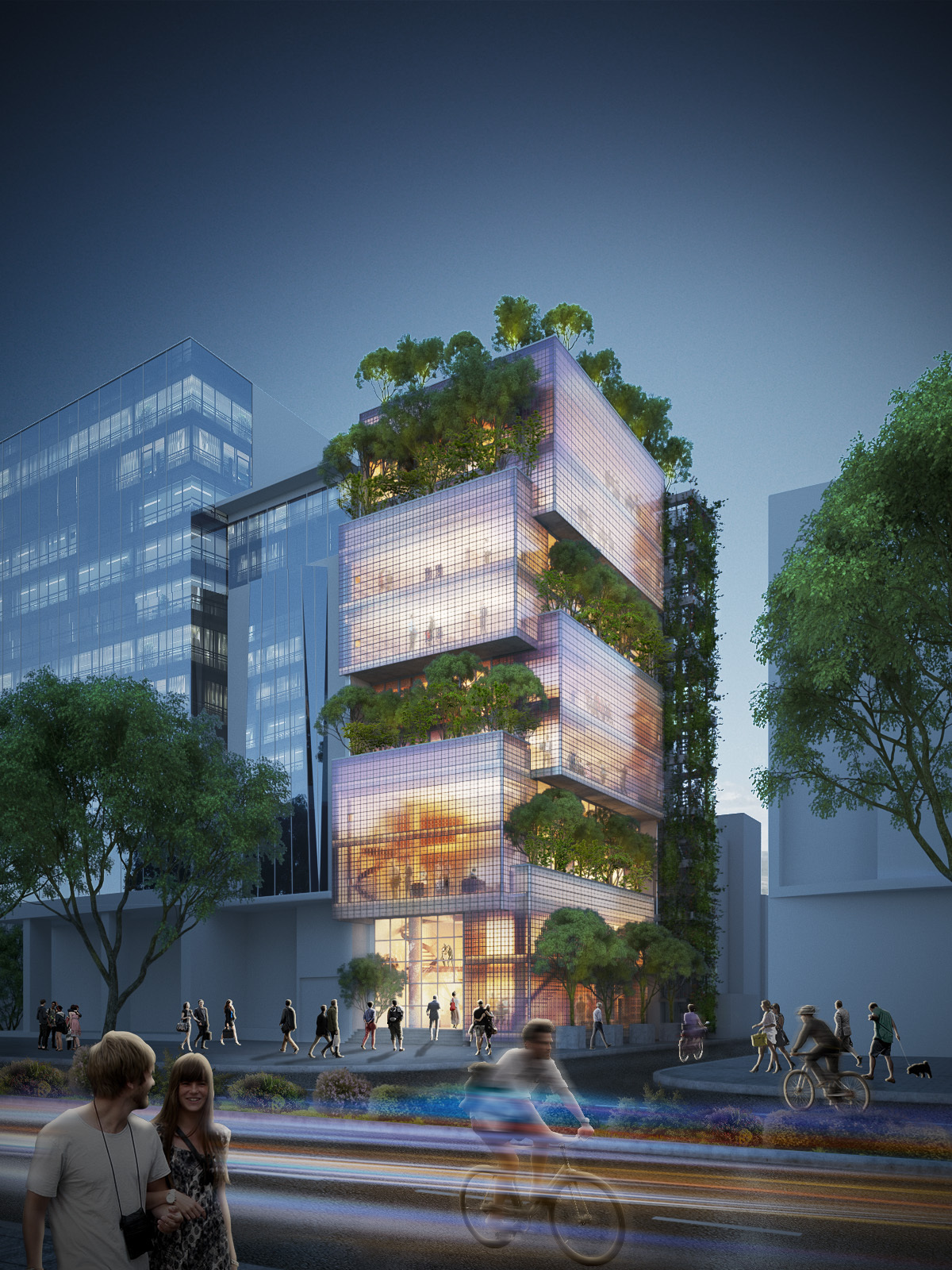 vtn architects design stacked glass block headquarters in ho chi minh city exterior night view - Architects Design