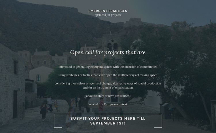 Open Call for Emergent Practices of Social Architecture , poster of the open call