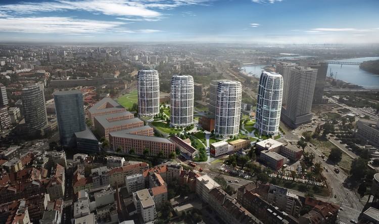 """Construção do """"Sky Park"""" de Zaha Hadid Architects é iniciada em Bratislava, © Penta Investments"""