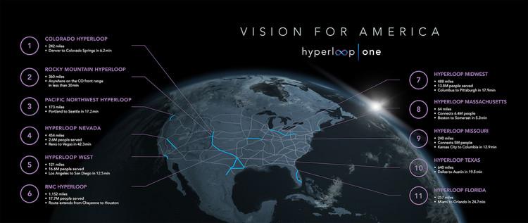 Hyperloop One divulga mapa para implementar 11 sistemas nos EUA, Cortesia de Hyperloop One