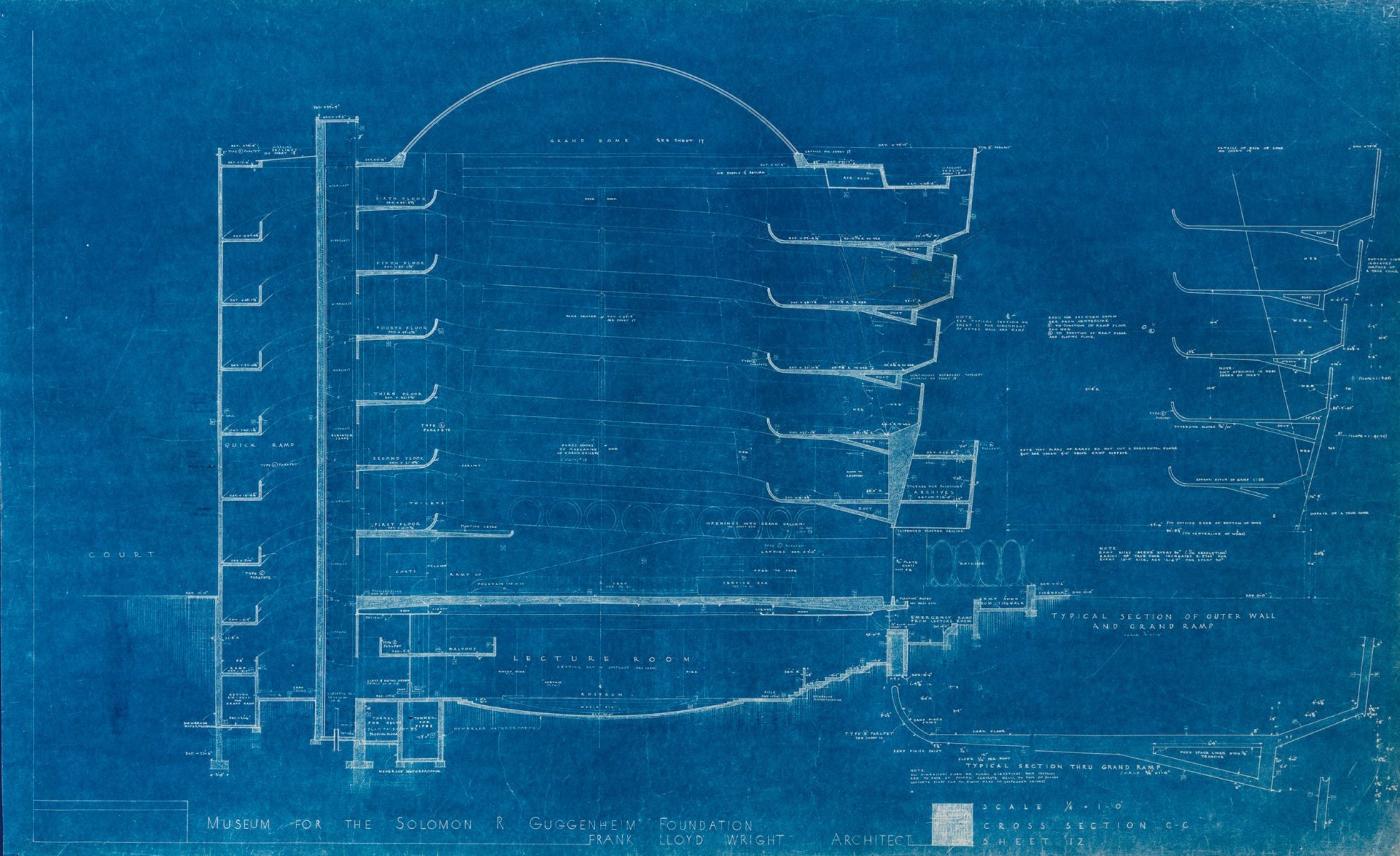 Guggenheim museum tag archdaily frank lloyd wrights early blueprints of the guggenheim reveal design ideas that didnt make malvernweather Choice Image