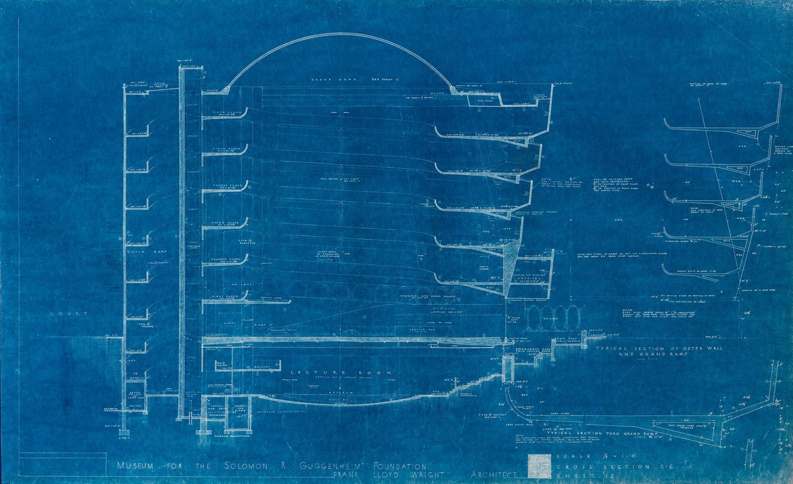 Gallery of frank lloyd wrights early blueprints of the guggenheim frank lloyd wrights early blueprints of the guggenheim reveal design ideas that didnt make malvernweather Images