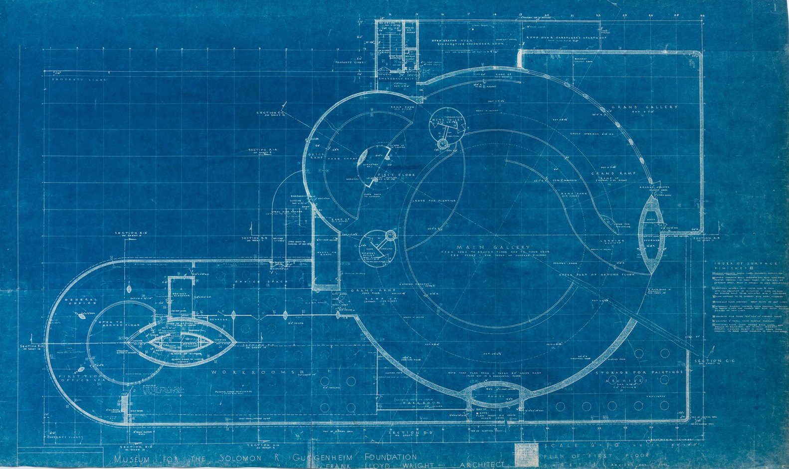 frank lloyd wrights early blueprints of the guggenheim reveal design ideas that didnt make - How Do You Make Blueprints