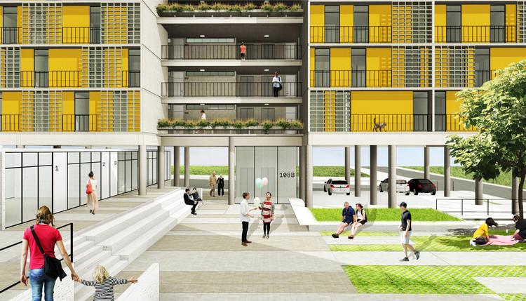 CODHAB promove concurso nacional de Habitação de Interesse Social, 1º Lugar no concurso CODHAB-DF para edifícios de uso misto em Santa Maria/DF © Estúdio Gamboa de Arquitetura