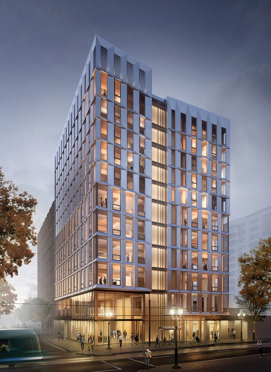 The United States' First Mass-Timber Highrise Receives Planning Permission, Courtesy of LEVER Architecture