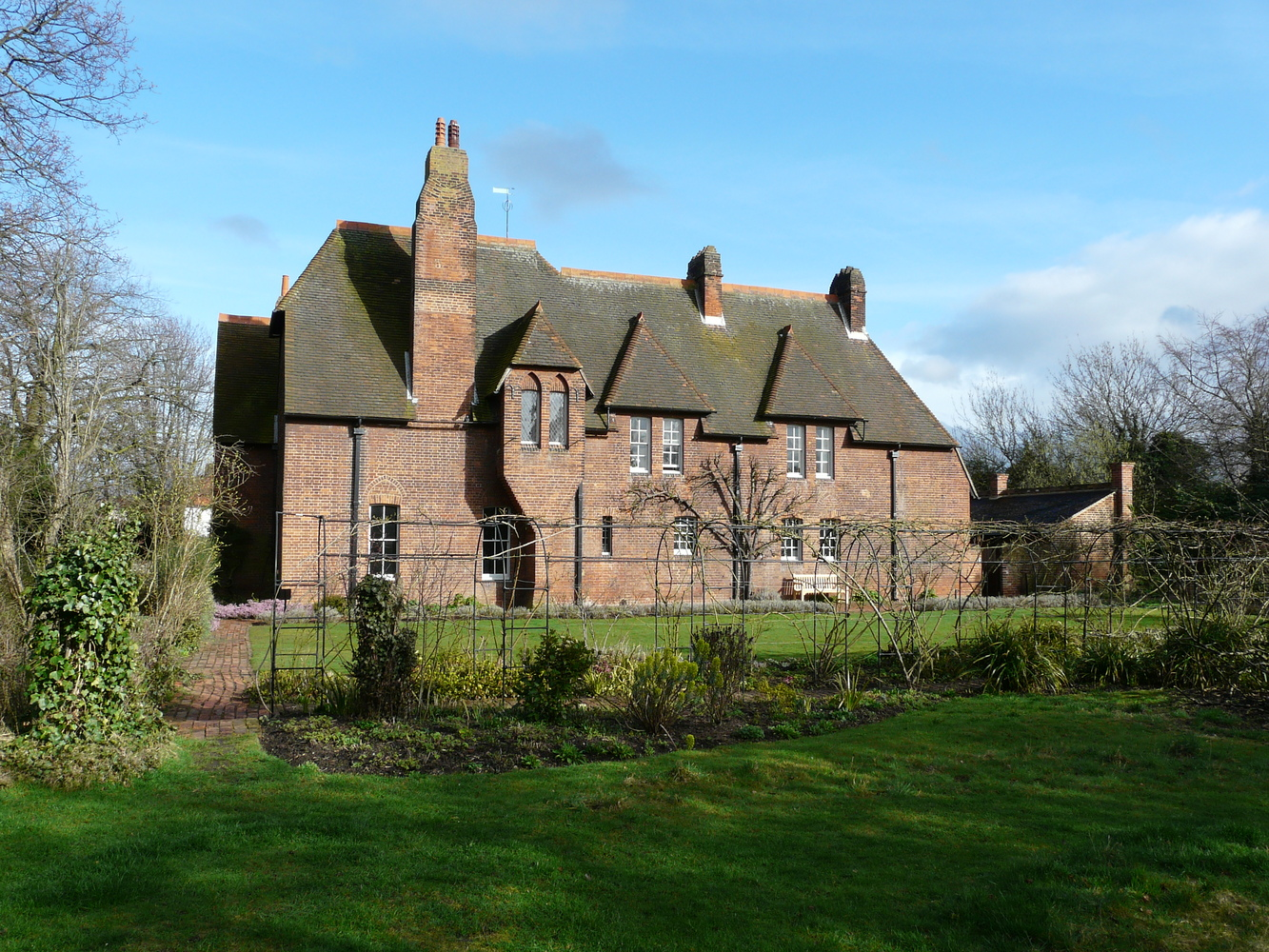 AD Classics: Red House,Although Relatively Austere, The Varying Rooflines,  Oriel Window
