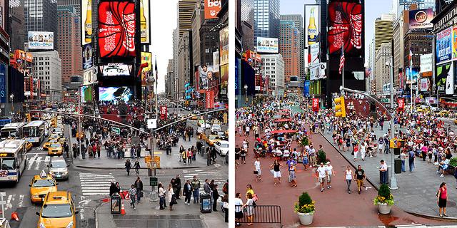 8 Princípios para projetar calçadas seguras e acessíveis: novo manual da WRI Brasil, Nova York, EUA, é exemplo de como o espaço urbano pode se revitalizar e atrair mais pessoas. Foto: NYC DOT Divulgação. Image Cortesia de TheCityFix Brasil