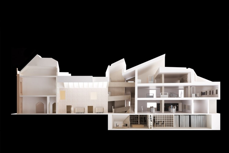 Carmody Groarke Greenlit for Expansion of Historic Dorset County Museum in Dorchester, Model showing the approved renovation and addition. Image Courtesy of Carmody Groarke
