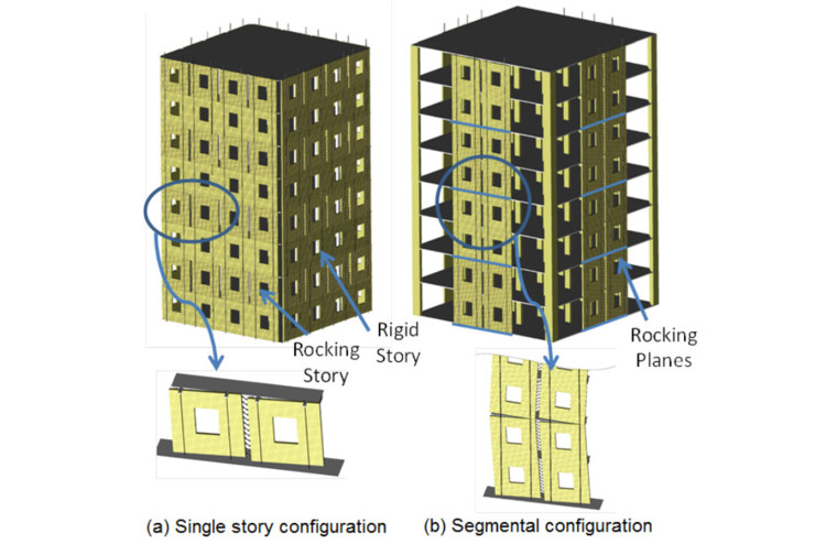 Learn About Seismic Design of Wooden Buildings With These Online Resources, Two Rocking CLT Wall Configurations. Image Courtesy of reThink Wood