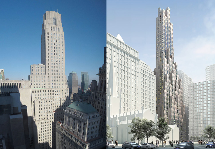 """New(er) York"" Imagines What New York's Historic Structures Would Look Like if Built Today, One Wall Street, before and after. Images: left, <a href='https://commons.wikimedia.org/wiki/File:1_Wall_Street_panoramic.jpg'>Via Wikimedia</a> in public domain; right, Courtesy of Hollwich Kushner"