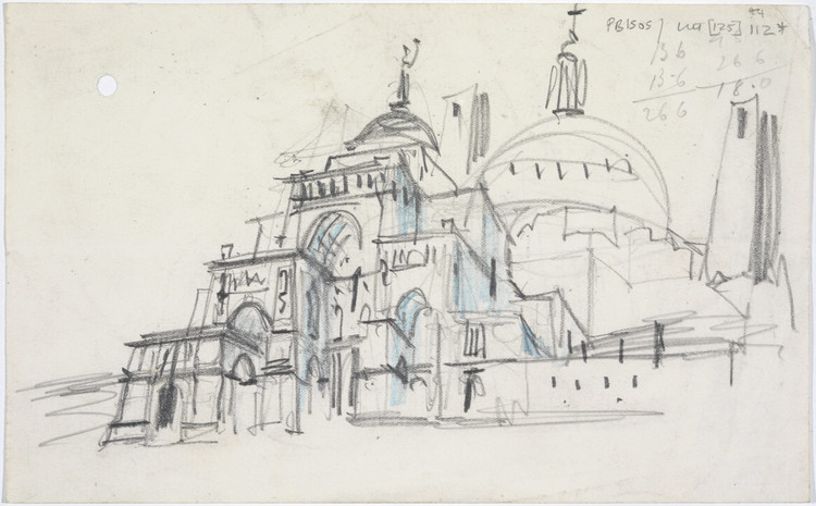 As the RIBA's Largest Outpost Launches in Liverpool, A New Exhibition Seeks to Reveal the City's Maverick History, Sketch design for the Roman Catholic cathedral, Liverpool: perspective from south east, by Sir Edwin Lutyens, 1932. Image © RIBA Collections