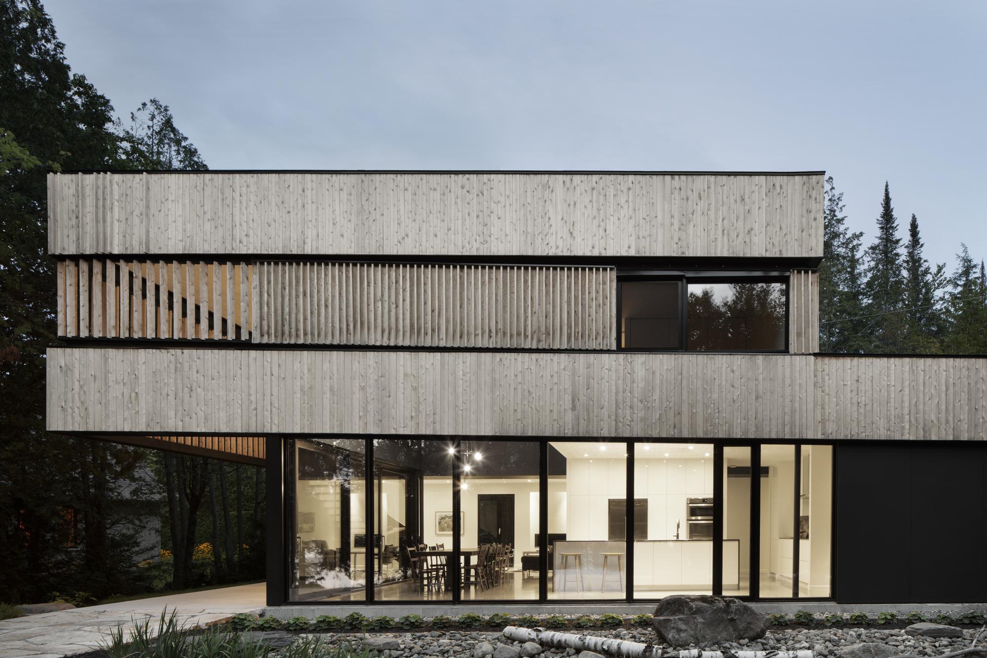 Gallery of maison sur le lac acdf architecture 15 - Maison wooden concrete nestor sandbank ...