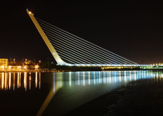 Of the world's most famous architects, few have any formal training in engineering. Santiago Calatrava is perhaps the most well-known of the group. Image © <a href='https://commons.wikimedia.org/wiki/File:Calatrava_Puente_del_Alamillo_Seville.jpg'>Wikimedia user Andrew Dunn</a> licensed under <a href='https://creativecommons.org/licenses/by-sa/2.0/deed.en'>CC BY-SA 2.0</a>