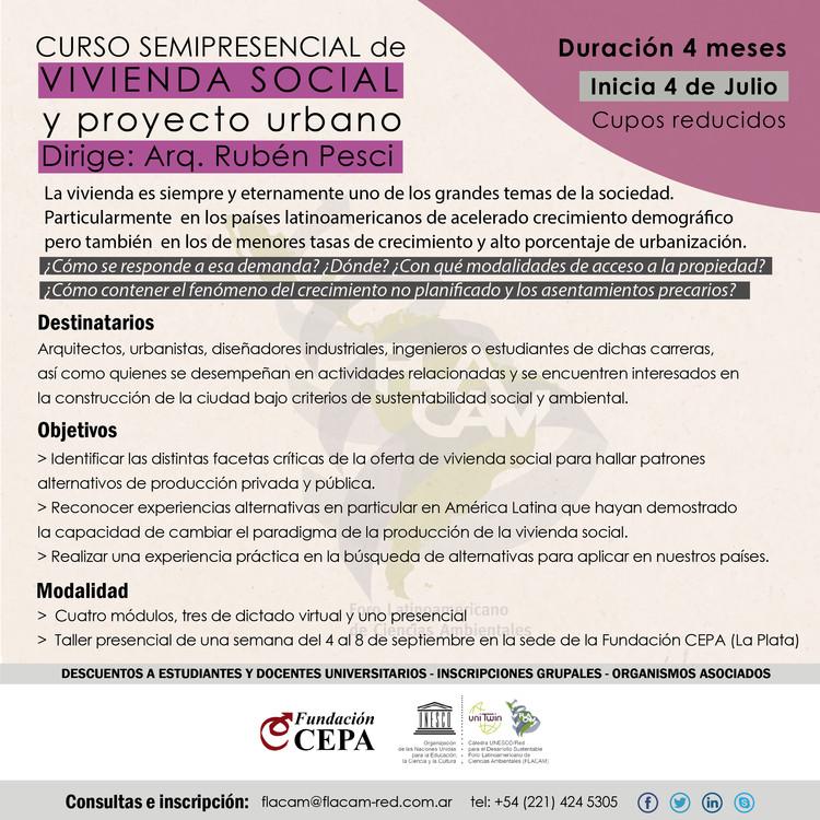 Curso de Vivienda Social y Proyecto Urbano, Afiche Curso Vivienda Social y Proyecto Urbano. Fundación CEPA. 2017