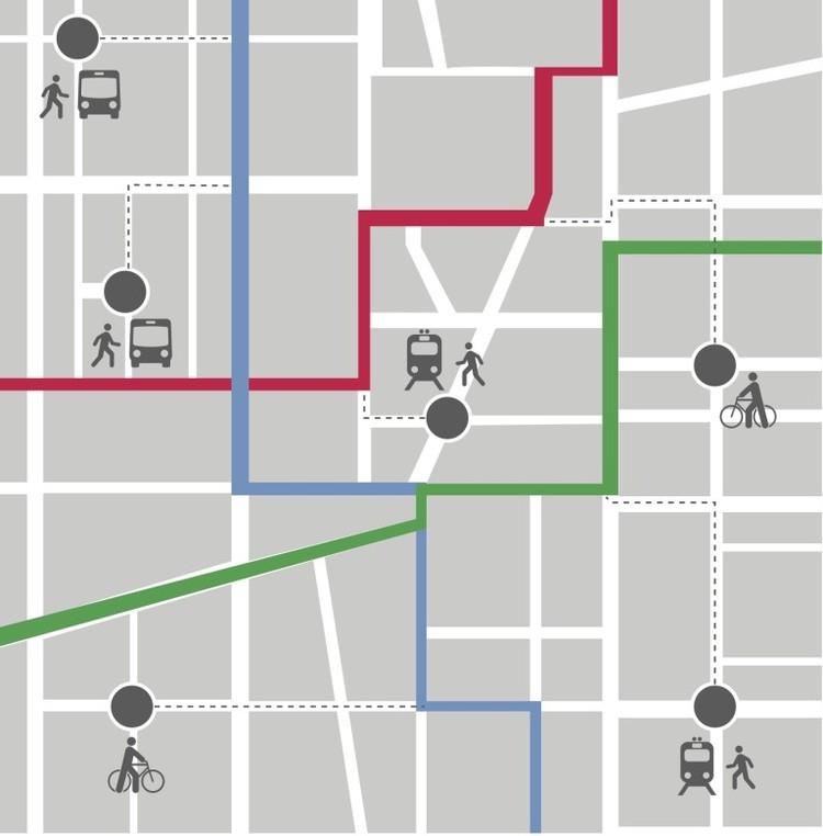 Indicador avalia o ritmo de crescimento da infraestrutura de transporte nas cidades, Gráfico elaborado pelo ITDP Brasil mostrando a proximidade entre diferentes modos de transporte.. Image © ITDP Brasil