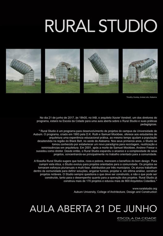 Curso de pós-graduação 'Arquitetura, Educação e Sociedade', da Escola da Cidade, promove aula aberta com o arquiteto Xavier Vendrell do Rural Studio