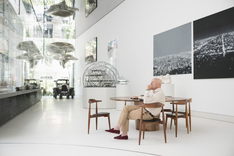 the norman foster wingshaped pavilion provides a home for le corbusierus car