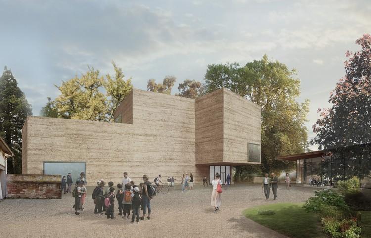 Peter Zumthor divulga projeto para a ampliação da Fundação Beyeler, Casa para Arte e Pavilhão (lado direito), Visto do Parque Berower. Image Cortesia de Atelier Peter Zumthor & Partner