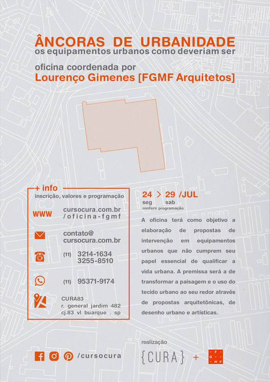 FGMF Arquitetos realizará Workshop no CURA no final de Julho, CURA+ FGMF | Oficina Âncoras de Urbanidade