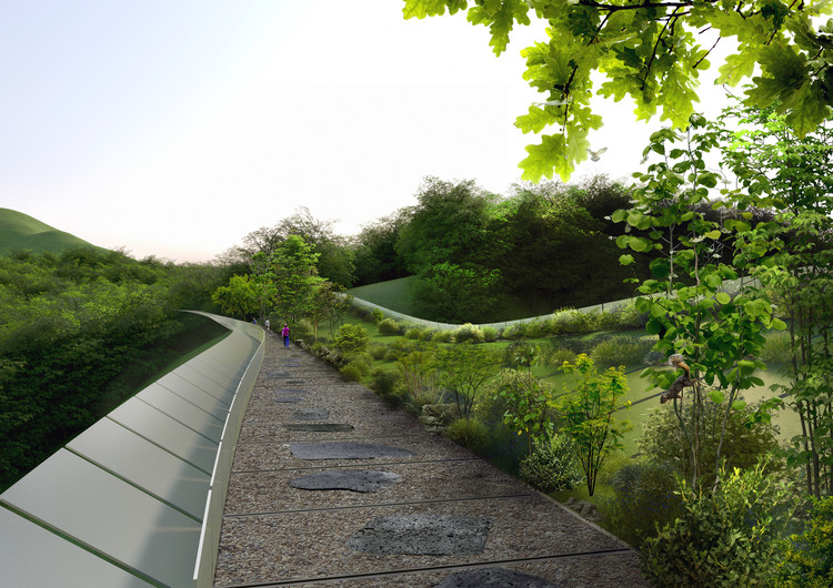 Eco Bridge Design Winner Creates an Undulating Mountainside Infrastructure in Seoul, Courtesy of KILD