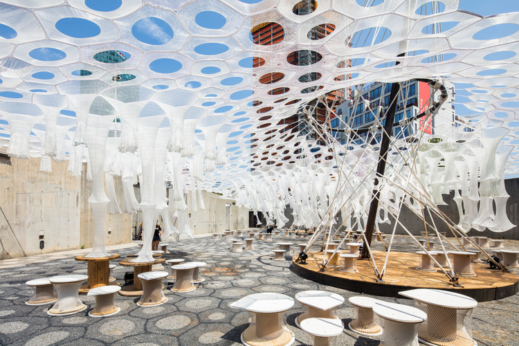 """Jenny Sabin Studio's Light-Capturing """"Lumen"""" Installation Debuts at MoMA PS1, Lumen by Jenny Sabin Studio for The Museum of Modern Art and MoMA PS1's Young Architects Program 2017, on view at MoMA PS1 from June 29 to September 4, 2017. Image courtesy MoMA PS1. Photo by Pablo Enriquez."""