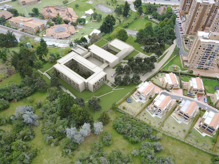 Consejo Episcopal Latinoamericano unificará sus dos sedes de Bogotá, Vista aérea mirando hacia oriente. Image Cortesía de Equipo Primer Lugar