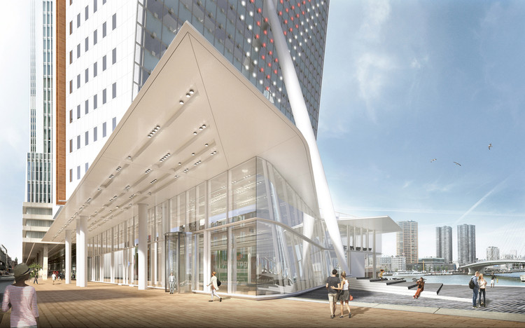 V8 Architects to Expand Renzo Piano's Tilted KPN Tower in Rotterdam, © V8 Architects